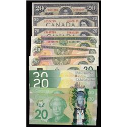 Bank of Canada $20 Banknotes - Lot of 11