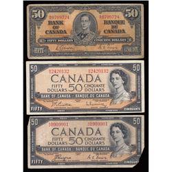 Bank of Canada $50 Banknotes - Lot of5