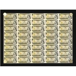 Bank of Canada $1 Sheet of 40 Notes, 1973