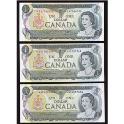 Bank of Canada $1, 1973 - Lot of 3 Replacements