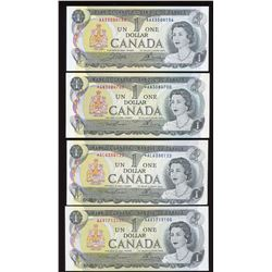 Bank of Canada $1, 1973 - Lot of 4 Replacements