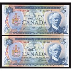 Bank of Canada$5, 1972 - Lot of 2 Consecutive