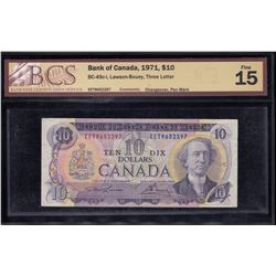 Bank of Canada $10, 1971 Rare Changeover