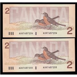 Bank of Canada $2, 1986 Lot of 2 Consecutive