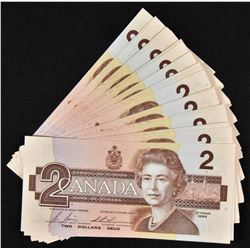40 Consecutive Bank of Canada $2, 1986