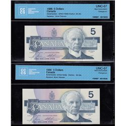 Bank of Canada $5, 1986 Changeover Pair