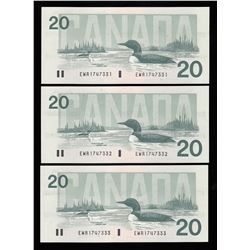 Bank of Canada $20, 1991 - Lot of 3 Consecutive