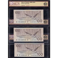 Bank of Canada $100, 1988 - Lot of 3 Consecutive