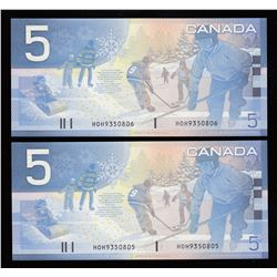 Bank of Canada $5, 2002 - Lot of 2 Consecutive Replacements
