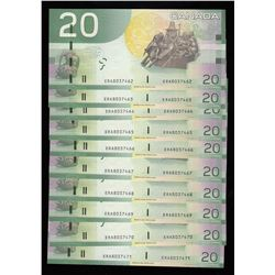 Bank of Canada $20, 2008 - Lot of 10 Consecutive