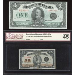 Dominion Twenty-Five Cents & $1, 1923