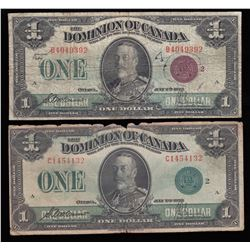 Dominion of Canada $1, 1923 - Lot of 4