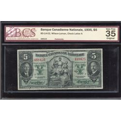 Banque Canadienne Nationale $5, 1935