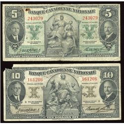 Banque Canadienne Nationale $5 & $10, 1935 - Lot