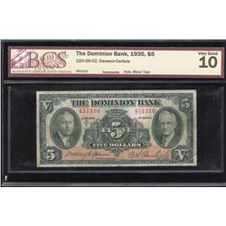 Dominion Bank $5, 1935