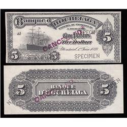 Banque D'Hochelaga $5, 1889