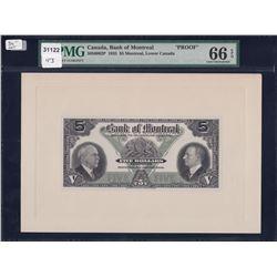 Bank of Montreal $5, 1935 Proofs