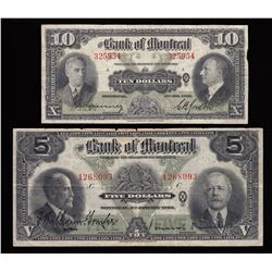 Bank of Montreal $10, 1938 & $5, 1923