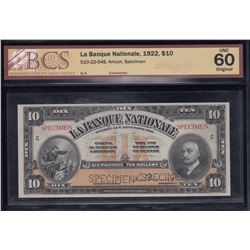 1922 La Banque Nationale $10 Specimen Note