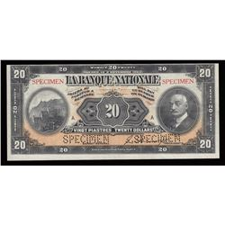 1922 La Banque Nationale $20 Specimen Note