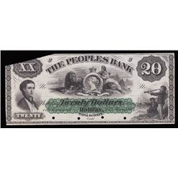 People's Bank of Halifax $20, 1864