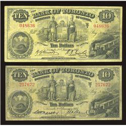 Lot of 2 Bank of Toronto $10's, 1935 & 1937