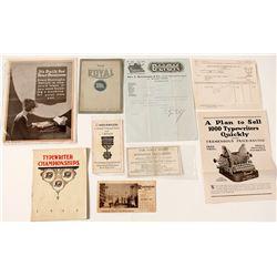 US Typewriter Ephemera (Blotters, Letterheads, Catalogs)