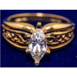 Marquise Cut CZ Gold Ring