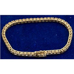 Gold over Sterling Diamond Tennis Bracelet