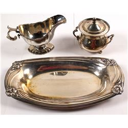 Silverplate Sugar & Creamer, Tray