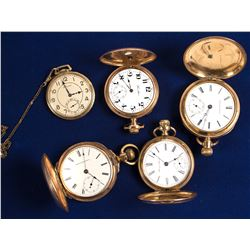 Five Gold Men's Pocket Watches