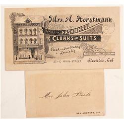 2 Old California Business Cards: Stockton & San Andreas