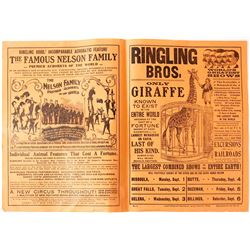 Original Circus Flyer for Ringling Brothers Circus in Montana