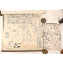 Old Reno, NV Real Estate Wall Map and Nevada Map