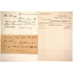 Three Documents to Governor James Nye, Nevada Territory