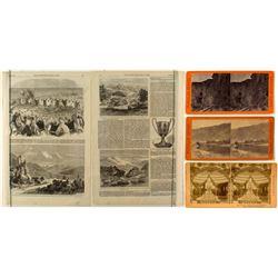 Three Nevada Stereoviews: Palisade & Nevada Exhibit at World's Fair & Comstock Newspaper Engravings