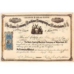 Davis Sewing Machine Company of Watertown, N.Y. Stock Certificate, 1872