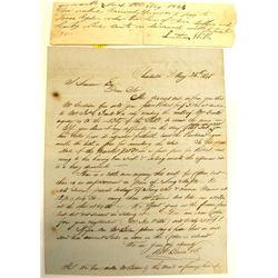 Letter Regarding Sale of a Slave, Charleston, South Carolina