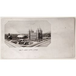 Aluminum Postcard of Mormon Temple, Salt Lake City