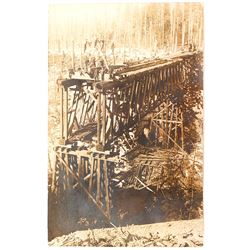 Rare Real Photo Postcard of Railroad Bridge Construction at Matlock, Washington