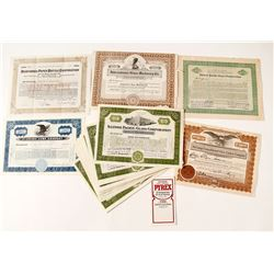 US Glass Companies Stock Certificates & One Price List