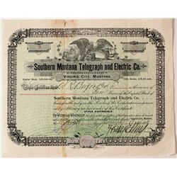 Rare Virginia City, Montana Telegraph Certificate