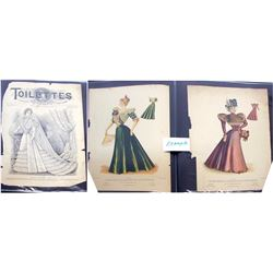 Group of 19th Century Women's Fashions Color Sketches