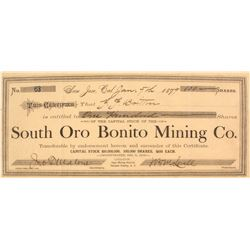 South Oro Bonito Mining Co. Stock Certificate, 1879, Yavapai County, Arizona Territory
