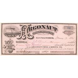 Argonaut Mining & Milling Co. Stock Certificate, Georgetown