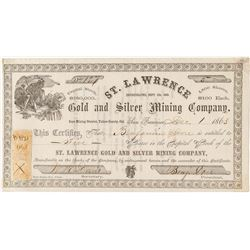 St. Lawrence Gold and Silver Mining Company Stock Certificate (Inyo Mining District)
