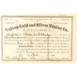 Vulcan Gold and Silver Mining Stock Certificate, Ouray, 1880