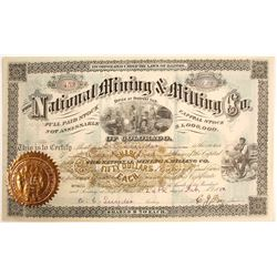 Choice National Mining & Milling Co. of Colorado Stock Certificate, 1880