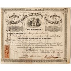 Delaware Mining Co. of Michigan Stock Certificate, 1865