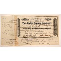 Ridge Copper Company Stock Certificate, 1881